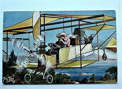 A/S Thiele COUPLE Running Away Together in Biplane Airplane TSN Postcard 1910