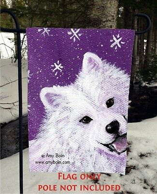 Samoyed Wish Upon A Snowflake 12 By 18 Garden flag no pole By Amy Bolin