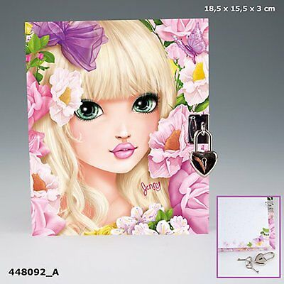 Depesche TOP MODEL DIARY with PADLOCK JENNY + FLOWERS Lockable Journal