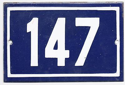 Old blue French house number 147 door gate plate plaque enamel metal sign steel