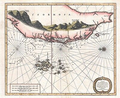 1729 Van Der Aa Map of Taiwan or Formosa and the Penghu Islands