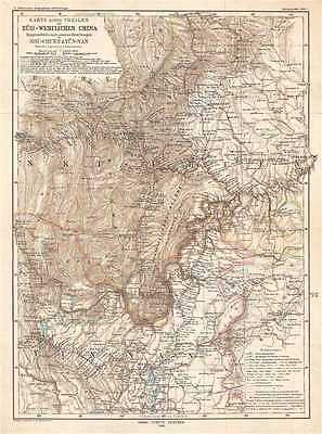 1883 Hassenstein Map of Sichuan and Yunnan Provinces, China