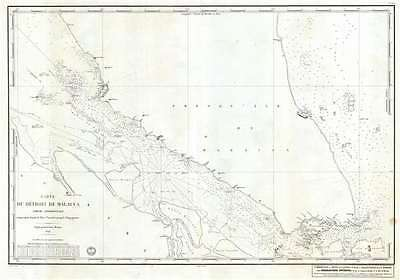 1843 Depot de la Marine Map of Singapore and the Starit of Malacca