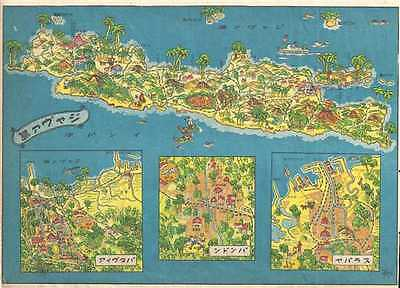 1930 Japanese Takesi Pictorial Map of Java