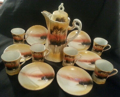 Japanese Chocolate Set Pitcher Six Cups and Saucers Swan on Lake