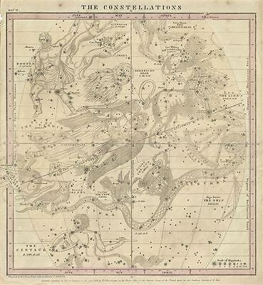 1856 Burritt / Huntington Map of the Constellations or Stars in June, May and A