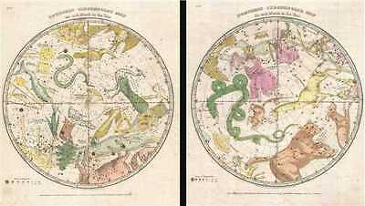 1835 Burritt - Huntington Map of the Constellations of the Hemispheres (2 Maps)