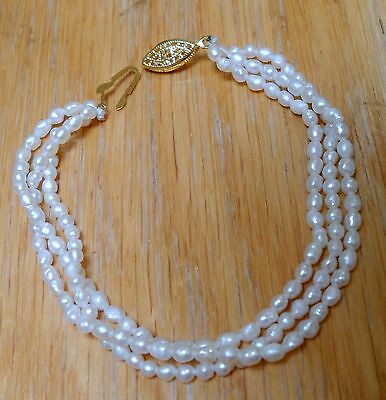 "Matched Fresh Water Pearls 3 (Triple) Strand 8"" Bracelet"
