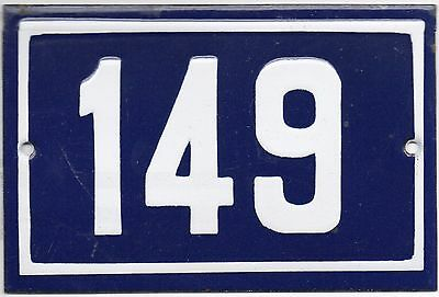 Old blue French house number 149 door gate plate plaque enamel metal sign steel
