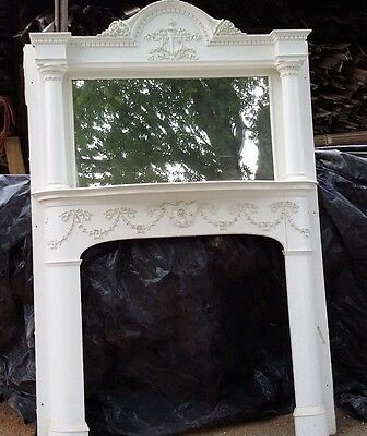 Antique Oak 1890's Victorian Fireplace Mantle with Mirror
