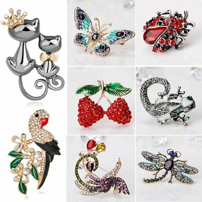 New Insect Butterfly Cats Crystal Rhinestone Brooch Pin Women Wedding Jewelry