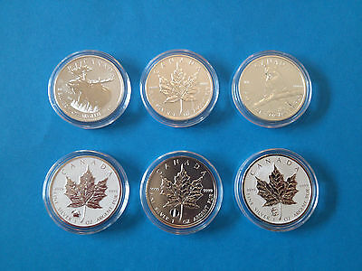 CANADA - 2012 Canadian $5 Maple Leaf Collection - 6 different SMLs in air-tites