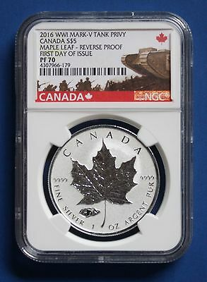 CANADA - 2016 $5 Reverse Proof Silver Maple Leaf with Mark V Tank Privy NGC PF70