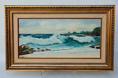 Vintage Art Oil On Canvas Framed Seascape Painting Signed