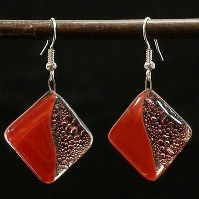 Deep Passion Fused Glass Earrings - Tili Glass - Handmade In Chile