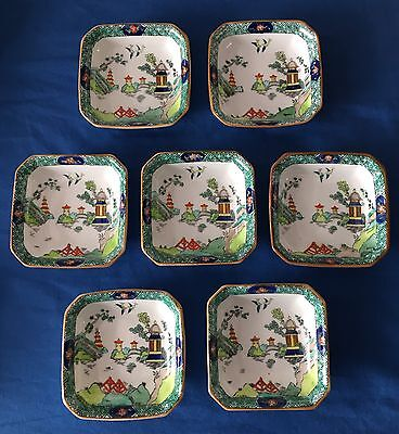 7 Nut Dishes Ye Olde Willow Crown Staffordshire Bone China Chinese Porcelain