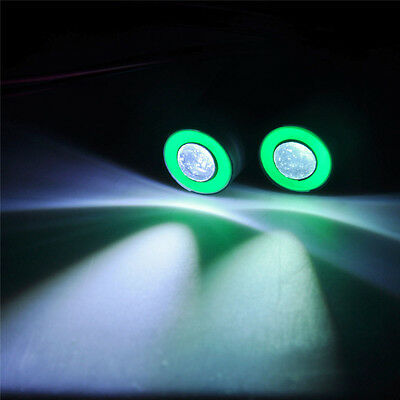 13mm 2Leds Green+White Angel&Demon Eyes LED Headlight Back Light fr 1/10 RC Car