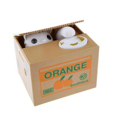 White Cat Automated Steal Money Penny Coin Storage Saving Box Piggy Bank