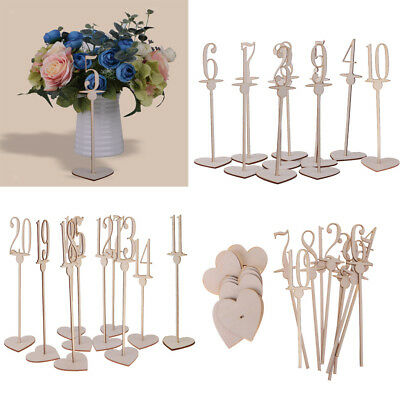 1-20 Free Standing Wooden Table Numbers with Heart Base Wedding Decor