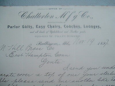 1897 Baltimore,Md.,Chatterton family/Chair,Lounge,Couches Makers,signed letter