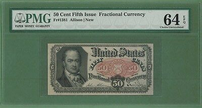 Fr 1381 $0.50 fractional fifth issue PMG 64 EPQ uncirculated