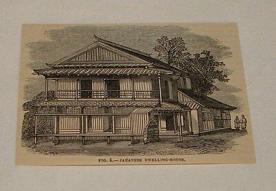 1879 magazine engraving ~ JAPANESE DWELLING HOUSE, Japan