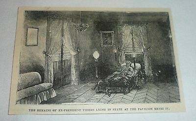 1877 magazine engraving ~ REMAINS OF ADOLPHE THIERS