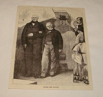 1877 magazine engraving ~ THIERS AND GUIZOT, France