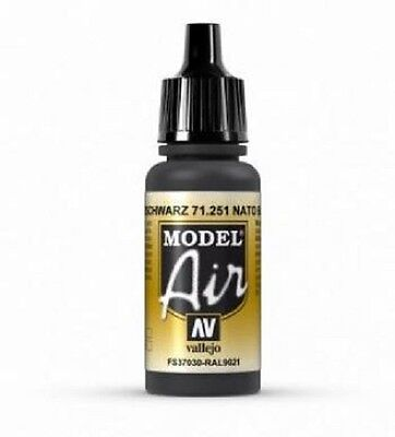VAL251 -	 Model Air - NATO Black    AV Vallejo Model Airbrush Paint 17ml bottle
