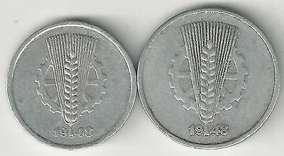 2 OLDER COINS from EAST GERMANY - 5 & 10 PFENNIGS (BOTH DATING 1948)