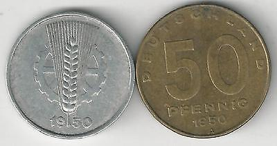 2 OLDER COINS from EAST GERMANY - 5 & 50 PFENNIGS (BOTH DATING 1950)