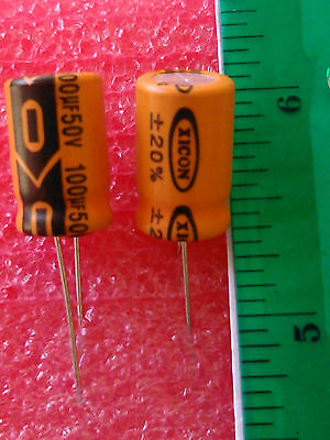 LOT of 25 100 uf 50 Volt   XICON BRAND 85*C  20% Radial Electrolytic Capacitor