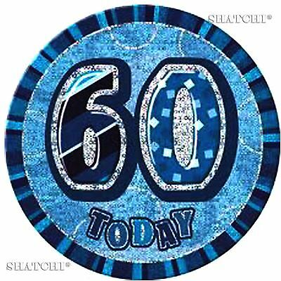 60th Happy Birthday Badge Glitz Blue  Party Decorations Unisex Party Supply