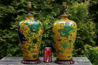 Pair of Large Antique Chinese SuSanCai Vases - with Kangxi mark & lamp fittings
