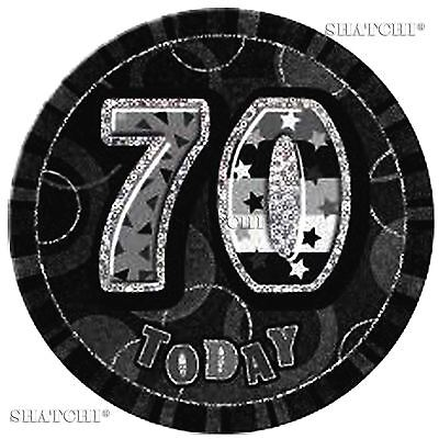 70th Birthday Badge Glitz Black Birthday Party Decorations Unisex Party Supply