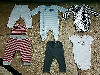 Lot of 7 Baby Boy Girl Unisex Clothing Pants Bodysuits Hat Multi-color 3-6 month