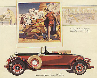1928 Original Packard Eight CONVERTIBLE COUPE Full Page COLOR Car AD