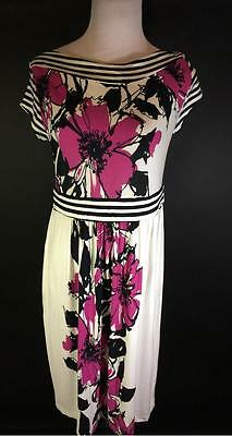 Olian Maternity White Pink Black Floral Cap Sleeve Stretch Dress Size M New
