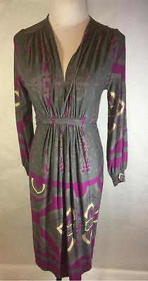 Olian Maternity Gray Purple Geometric Stretch Dress Size L New with Tags