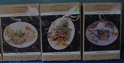 Hallmark Nature's Sketchbook Marjolein Bastin Lot of 3 Ornament  1996