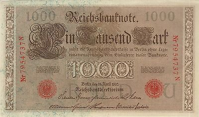 1910 1000 Mark Germany Reichsbanknote Currency Note Gem Unc German Banknote Bill