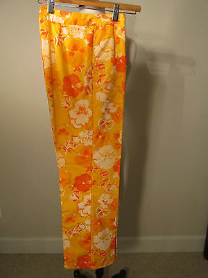 Vintage Lilly Pulitzer The Lilly Pansy Print Yellow Orange pants 29 in inseam S