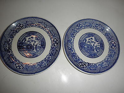 PAIR Willow Ware 6 inch Plate by Royal China very nice