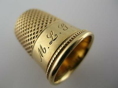 heavy 18K Gold THIMBLE plain style with a beaded border ~size 9