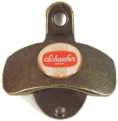 Antique Brass Finish Wall Bottle Cap Opener Scheafer Beer Logo New
