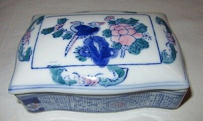 Trinket Box And Lid Done In  Blue  White Pink And Green Ceramic