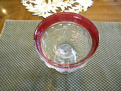 """Indiana Glass Ruby Flash Compote5 1/4X5"""" On A Pedestal"""
