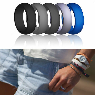 Rubber Silicone Wedding Engagement Ring Men Women Rubber Band Gym Sport Flexible
