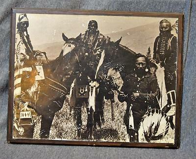 "Vintage Salish Indians 13 1/8"" x 10 1/4"" Photograph Mounted on Masonite"