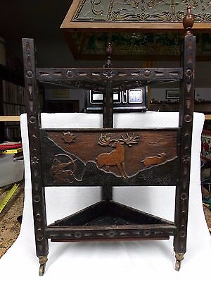Antique arts crafts 3 sided umbrella stand wooden carved